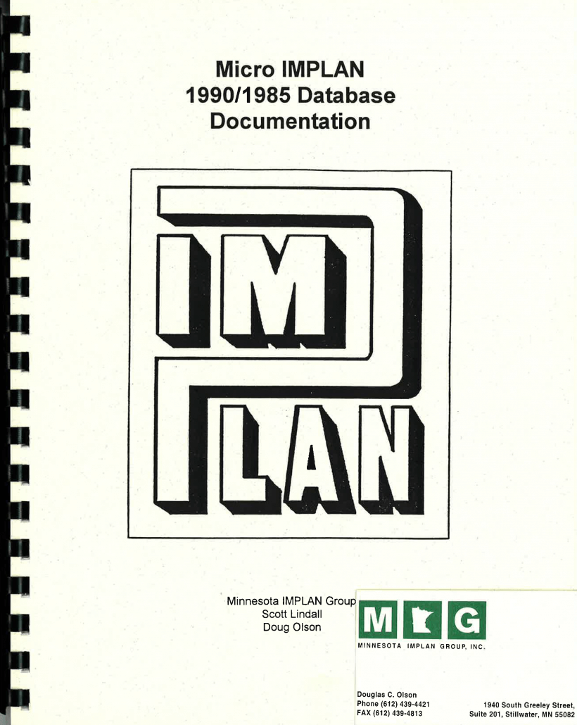Micro IMPLAN 1990/1985 Database Documentation (1990)